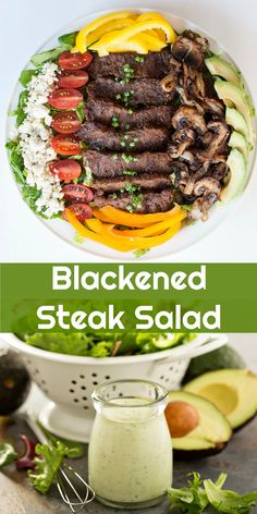 Keto Blackened Steak Salad | Peace Love and Low Carb #keto #lowcarb #ketogenic steaksalad #salad via @PeaceLoveLoCarb