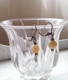 Gorgeous Yellow Jade Earrings handcrafted by Lori from Studio 4150!