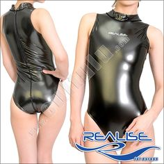 Model N 007 SH NEW Body / swimsuit / leotard / hydrasuit in classical leg cut, high neck, small collar and with zip on the back. Available at http://Shop.Cultulu.com