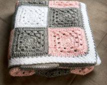 Crochet Girl Baby Blanket -  Hand Made Patchwork Throw in Plaid Pink, Grey, and White Granny Square Quilt