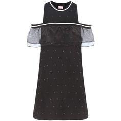 Giamba Embellished Cotton Jersey Mini Dress ($226) ❤ liked on Polyvore featuring dresses, cotton jersey dress, embelished dress, embellished mini dress, short dresses and cotton jersey
