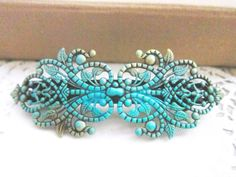 Vintage Style Barrette Patina Teal Turquoise Aqua Blue The Great Gatsby Victorian Spanish Style Hair Accessories Film Noir Girly Bohemian