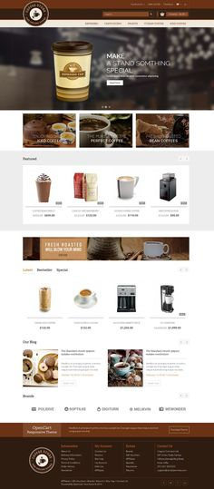 Coffee #Opencart Responsive #Theme is specially designed for coffee, chocolate, foods, restaurant, drink and cakes store. Coffee Opencart Responsive Theme is looking good with colors combination. All sub pages are customized. It is very nice with its clean and professional look. http://www.templatemela.com/coffee-opencart-responsive-theme.html