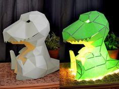 T-Rex Kawaii Lamp Color Angled SidebySide