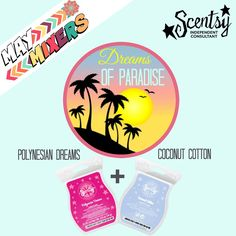 "www.sgrunow.scentsy.us ""Dreams of Paradise"" - This Scentsy Recipe mixes the sweet scent of Polynesian Dreams with the amazing scent Coconut Cotton.  Such an amazing blend!  Add 1/2 a cube of each to your full size warmer and ENJOY!!!"