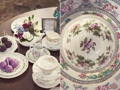 Tea cups and plates from The Vintage Table Co