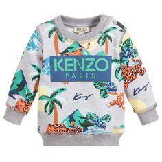 429639c3696 Kenzo Kids Boys Grey HAWAI Sweatshirt for Boy by Kenzo Kids. Discover the  latest designer