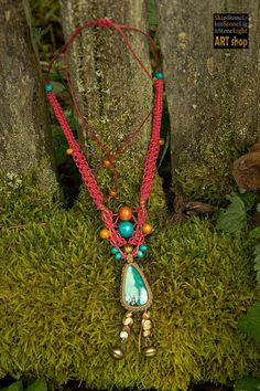 Knotted macrame necklace with turquoise crystal by SkinStoneLight, €30.00