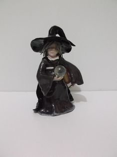 Pagan, Wicca, Witch, Crone with spell book & glass ball Altar Figurine, Hand Crafted, Ceramic