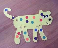 Put Me in the Zoo craft - leopard shape, paper fasteners, colored circles or dot stickers, wiggly eyes