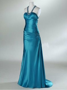 New Arrival Sheath Halter Sweep Train Elastic Silk-like Satin Beading Long Bridesmaid/Evening/Party/Homecoming/Prom/Formal Dresses 2013
