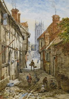 St Mary's Church from Church Street, Warwick by Louise Rayner, 1870-1880
