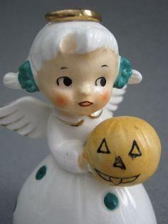 Vtg NORCREST Ceramic Fine China OCTOBER Girl w/Pumpkin Figurine BELL Halloween | eBay