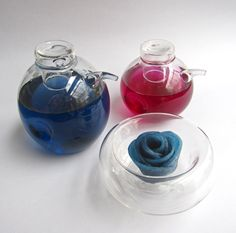 """Blue and purple food coloring made from cabbage. (That is a """"rose"""" made from a radish dyed with the blue.)"""