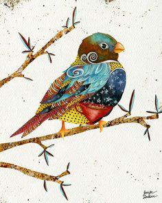 Art Print. Twilight Bird. Speckled Sky