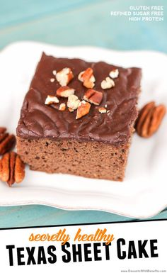 Healthy Texas Sheet Cake -- a super soft, moist, chocolate cake baked in a square pan rather than a circle pan, that's topped with a super sweet, fudgy and rich, chocolate icing  ... and did I mention it has just 150 calories per slice?  Oh yes. (refined sugar free, low carb, gluten free, high protein, high fiber)