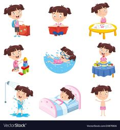 Girl doing various activities Royalty Free Vector Image Montessori Toddler, Montessori Activities, Infant Activities, Activities For Kids, Toddler Clock, Kids Routine Chart, Kids Planner, Autism Learning, Material Didático
