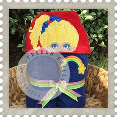 Colorful Girl hooded towel design. #Embroidery #Applique