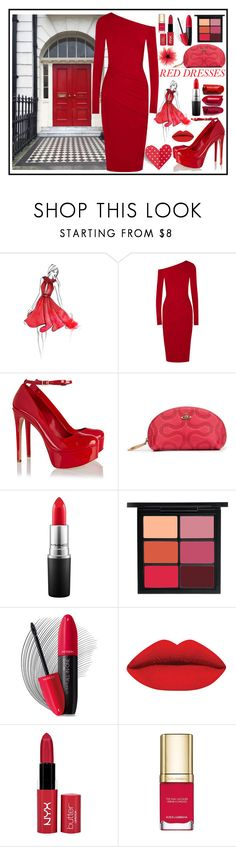 """Red Carpet Ready"" by angelstylee ❤ liked on Polyvore featuring Donna Karan, Schutz, Vivienne Westwood, MAC Cosmetics, Revlon, NYX, Dolce&Gabbana, red, heart and ready"