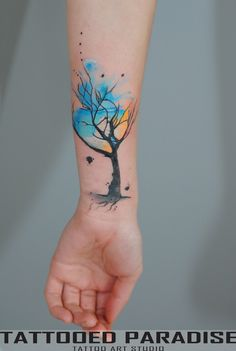 Beautiful Watercolor Tree Tattoo