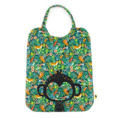 Kids bib with elastic, for school table cloth, illustrated with a pretty monkey on a green jungle fabric, 8 months to old Toddler Bibs, Blink Of An Eye, Fabric Patterns, Etsy, Monkeys, 6 Year Old, Preschool, Pretty, Fabric