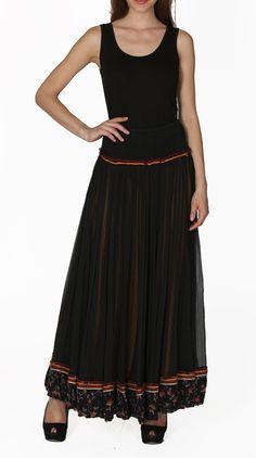 Black Chiffon Long Skirt