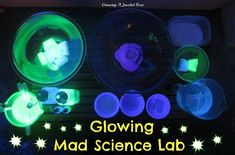 This glowing Mad Science Lab was such a fun play set up.  Lots of opportunities for teaching Science too! Features several experiments, and lots of concoctions.
