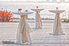 outdoor wedding, waterfront, simple yet elegant hight top table decor.