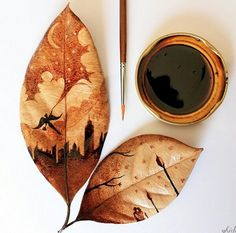 Coffee Leaf Art - a new inspiring coffee art medium by Ghidaq Al-Nizar, an Indonesian upcycler. He used to be a late artist, but now uses the remnants of his morning coffee to create delicate and stunning coffee watercolour works of art Art And Illustration, Inspiration Art, Art Inspo, Art Et Nature, Coffee Painting, Diy Painting, Coffee Artwork, Painted Leaves, Hand Painted