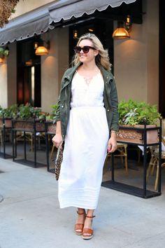 White dress+brown wedges+khaki jacket+leopard print clutch+sunglasses. Summer outfit 2016