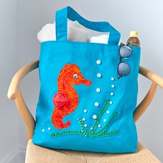 Home - Make it Coats Sea Horsing Around- Large Tote for the beach. #coastalliving #seahorse #sewing #diytotebag #beachbag #coatsandclark