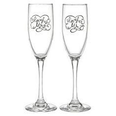"""""""I'm Her Mr"""" and """"I'm His Mrs"""" Wedding Champagne Flutes"""