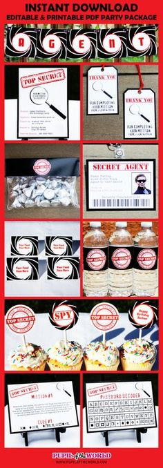 Secret Agent Birthday Party Printable Package  by PupiloftheWorld, $15.99