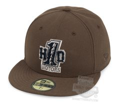 Harley-Davidson® Mens #1 H-D Motors Flat Brim 59FIFTY® by New Era 5950 Brown Cotton Fitted Baseball Cap