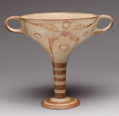 Stemmed cup with murex decoration, late 14th century B.C.; Late Helladic IIIA:2. Mycenaean. Terracotta.