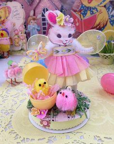 Vintage Inspired Easter  SuGaR SwEeT Spring Keepsake EASTER EGG GARDEN Diorama Fairy Honey Bunny