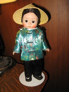 "Madame Alexander Vintage China Asian Chinese 7.5"" Doll New York USA W/ Stand #DollswithClothingAccessories"
