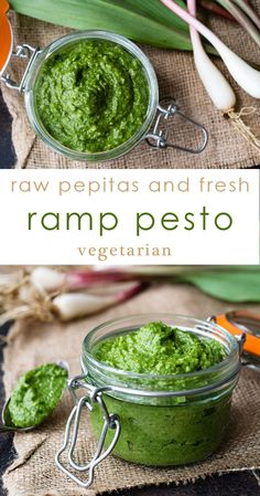 Ramp Pesto Recipe | made with pumpkin seeds (pepitas.) Great on pasta, pizza, meat and roasted vegetables. via @midlifecroissnt