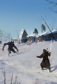 "A Very Severe Winter by Jakub Rozalski. ""Dear God... You do exist!"""