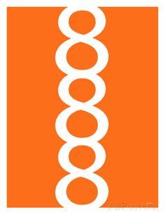 Orange Figure 8 Design Kunstdruck