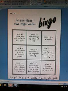 Hebben de leerlingen hun werk af? Dan kunnen ze iets kiezen van deze bingo-kaart. Kaart vol? stickertje halen bij de juf! Back 2 School, Too Cool For School, School Organisation, Werk Af, Home Schooling, Work Inspiration, School Classroom, Spelling, Teacher