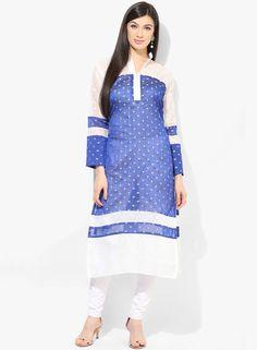512539931c4 Buy Plume Blue Printed Silk Blend Kurta Online - 3211479 - Jabong
