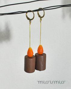Eco friendly earrings.Color block jewelry.Long earrings.Orange earrings.Dangle earrings.Urban earrings.Fashion earrings by missismiss, $18.00