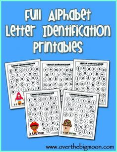 Letter identification sheets.  Kiddos can use stickers, dry erase, do a dot, etc. to find the targeted letter for each page.  Cute picture in the corner identifies the target letter.