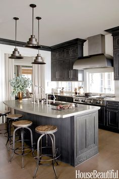 Gray cabinets and those pendant light fixtures. Best Kitchens of 2013 - Best Kitchen Designs 2013 - House Beautiful