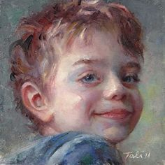 Sammy in Blue by Talya Johnson in the FASO Daily Art Show Love this little portrait.