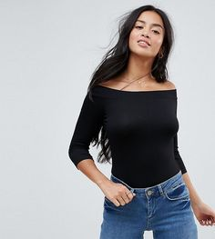 ASOS PETITE Top With Bardot Neck And 3/4 Sleeves - Black
