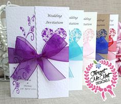 Personalised Handmade Gatefold Wedding Day Evening Invitations with Envelopes Personalised Wedding Invitations, Wedding Stationary, Stationery Set, Ribbon Colors, Wedding Thank You Cards, Handmade Wedding, Save The Date Cards, Wedding Supplies, Special Day