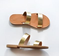 Leather Sandals women, Two strap women sandals, Leather flat sandals gold color, Handmade Greek Sandals