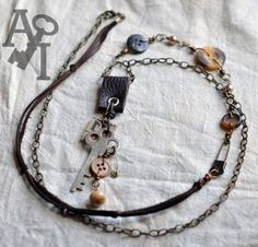 Mixed Media Key Button Extra Long Necklace by artisticicing, $36.00